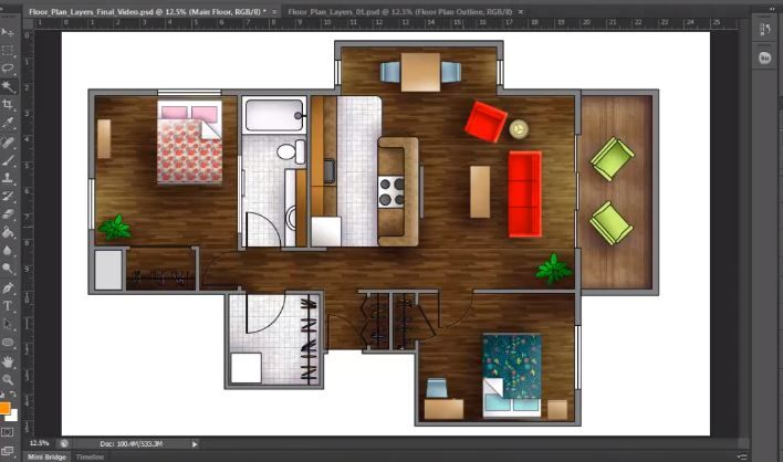 How To Render A Floor Plan Created In AutoCAD | Photoshop Architectural  Tutorials