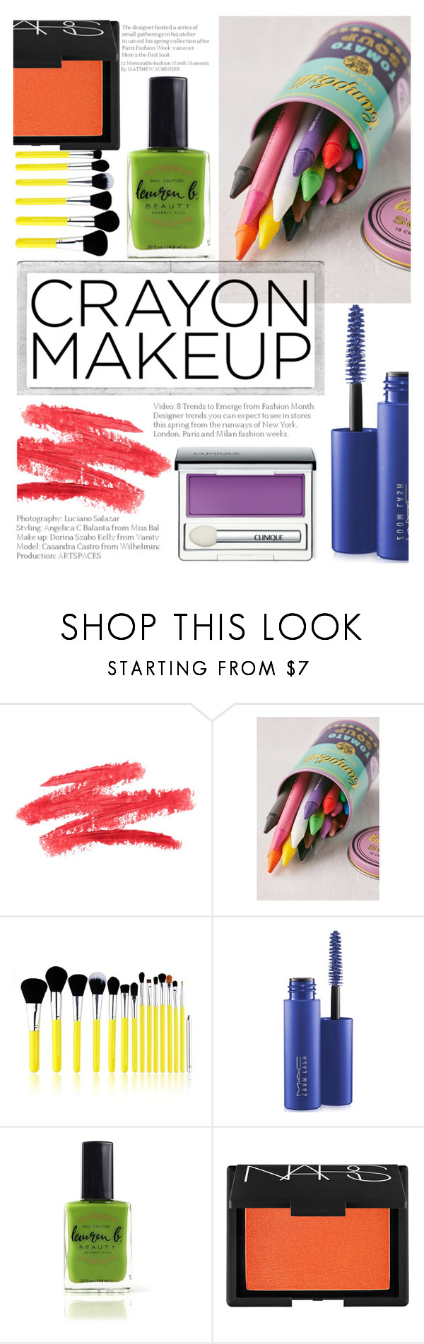 """crayon makeup"" by natsure ❤ liked on Polyvore featuring beauty, Urban Outfitters, Polaroid, Bliss & Grace, MAC Cosmetics, Lauren B. Beauty, NARS Cosmetics, Clinique and Color"