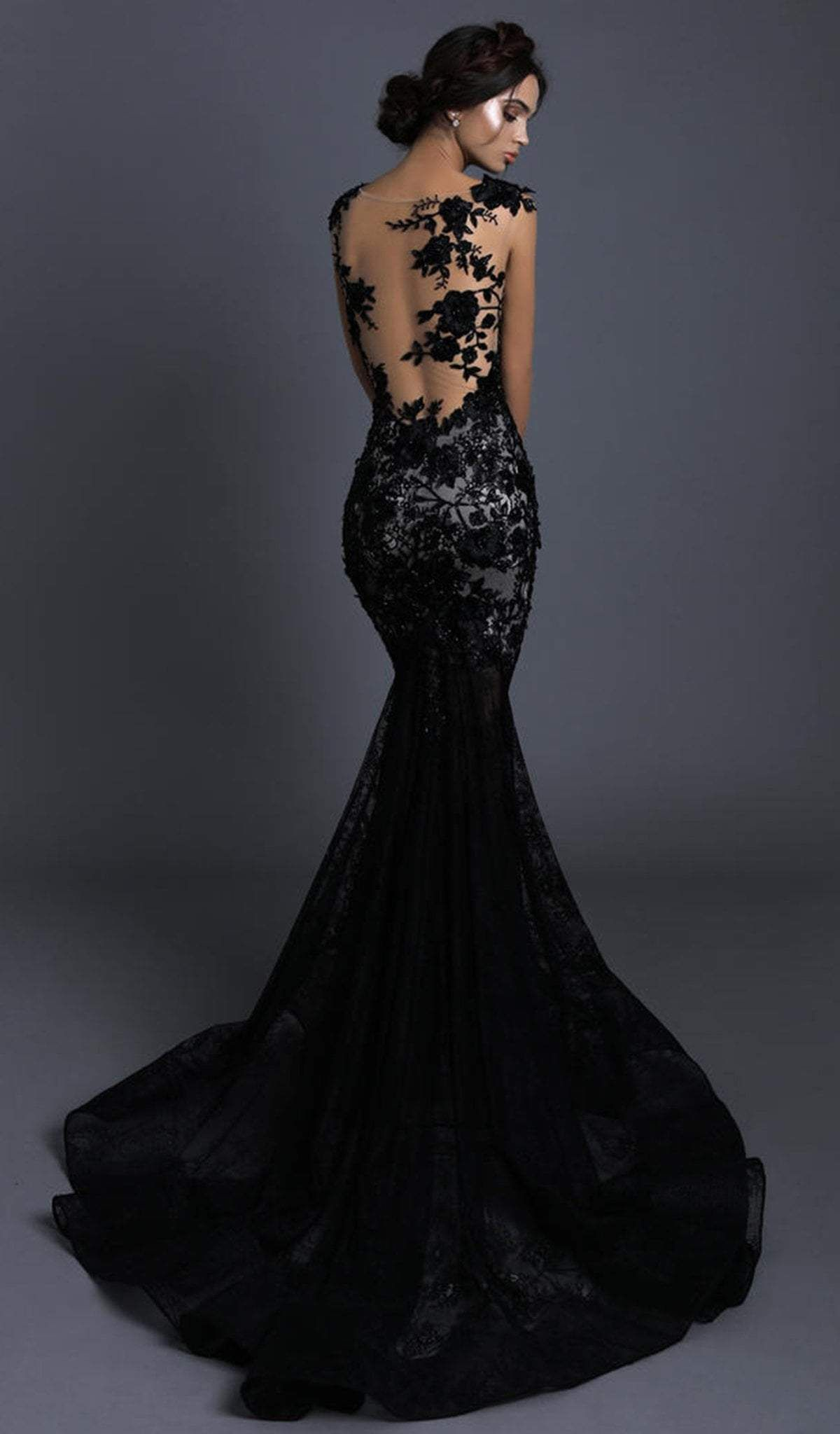 Tarik Ediz 93600 Floral Lace Bateau Mermaid Dress Black Lace Wedding Dress Black Lace Wedding Black Wedding Gowns