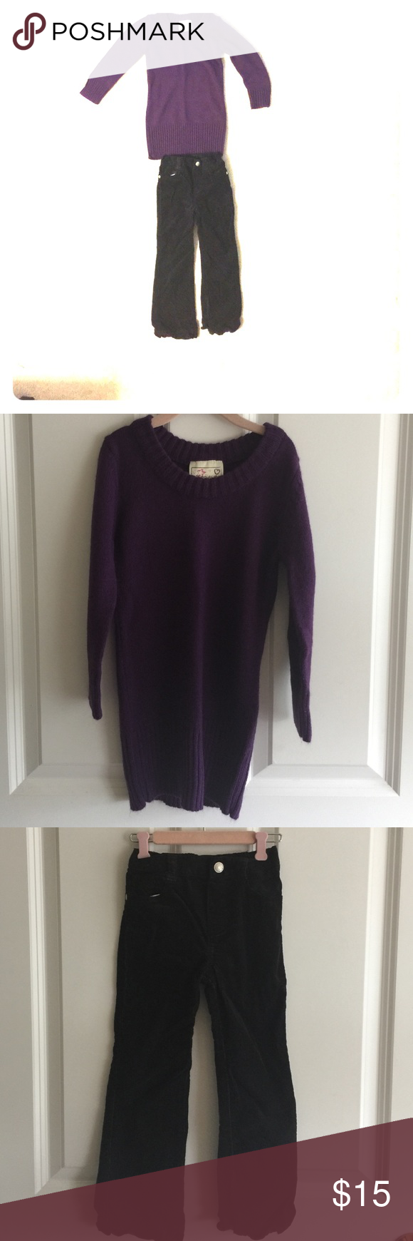 Purple sweater and black cords Purple sweater size 4 and black ...