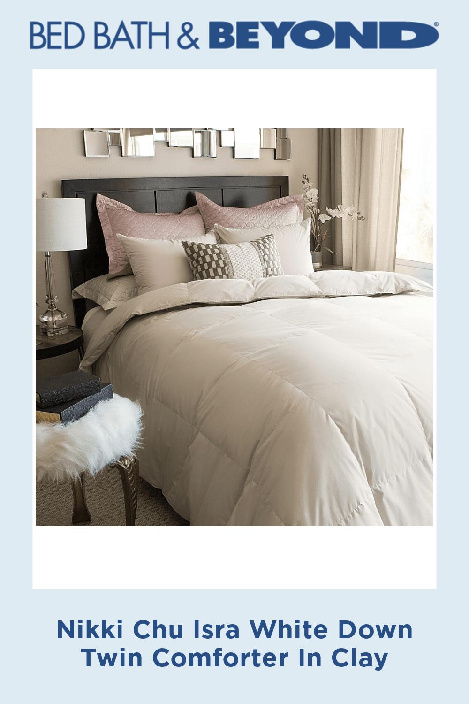 Nikki Chu Isra White Down Twin Comforter In Clay