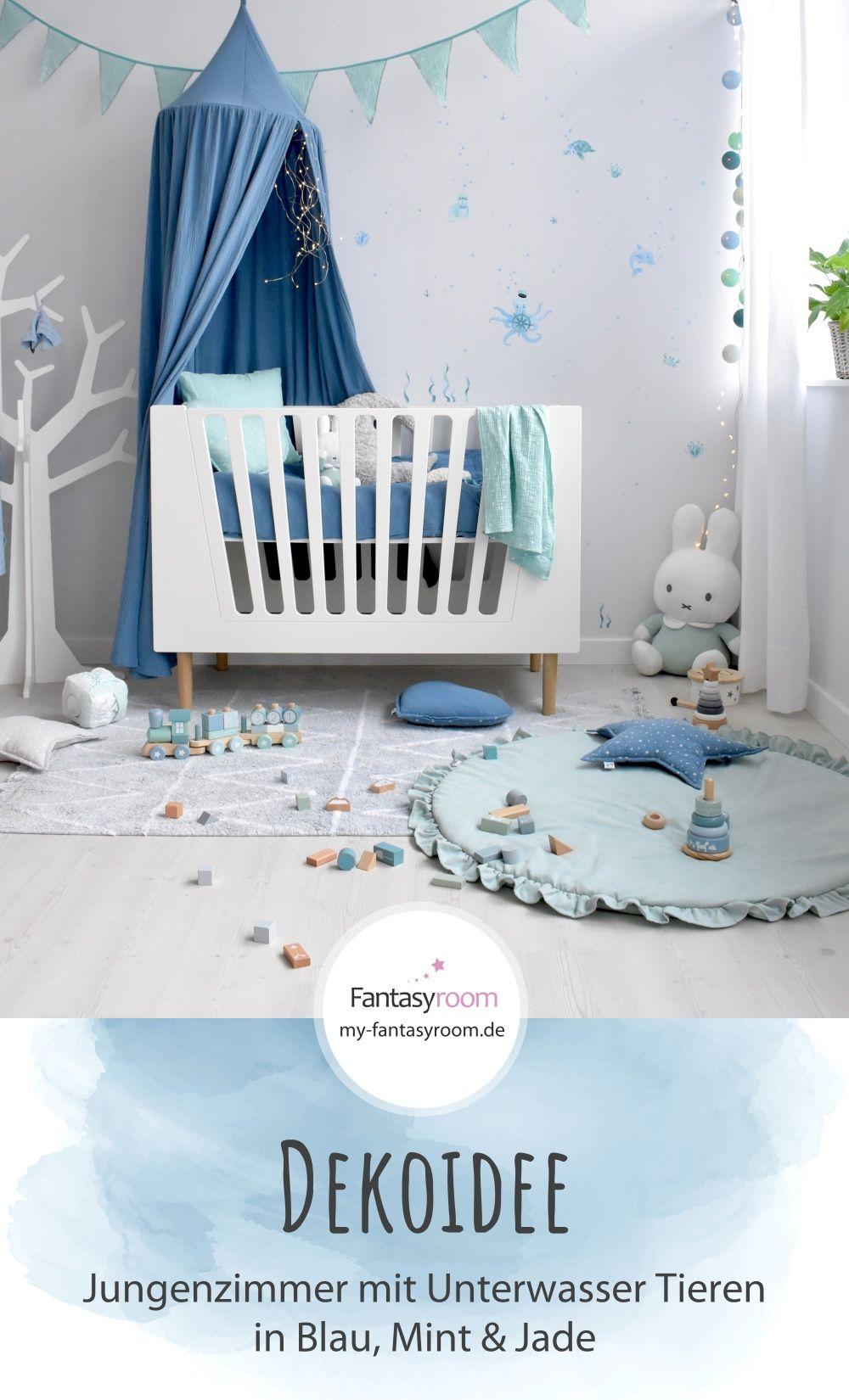 Jungenzimmer mit Unterwassertieren in Blau & Mint bei