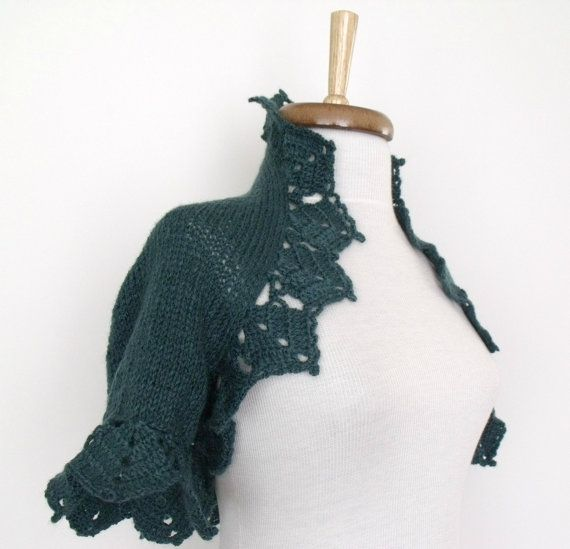 Teal Bridal Shrug With Flower Brooch  Ready for by knittingshop, $70.00