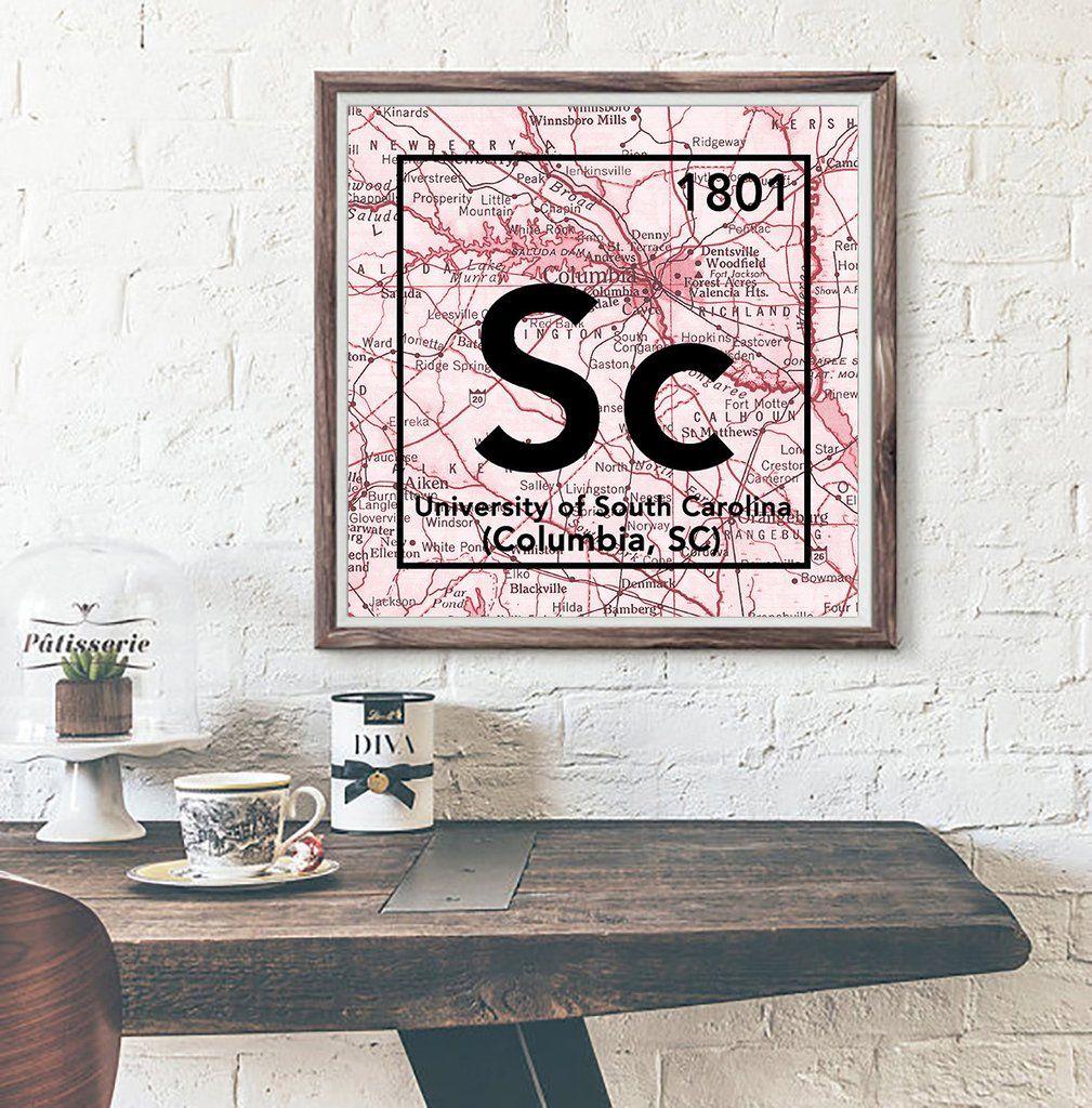 South Carolina Gamecocks-Columbia SC-Periodic Map ART PRINT