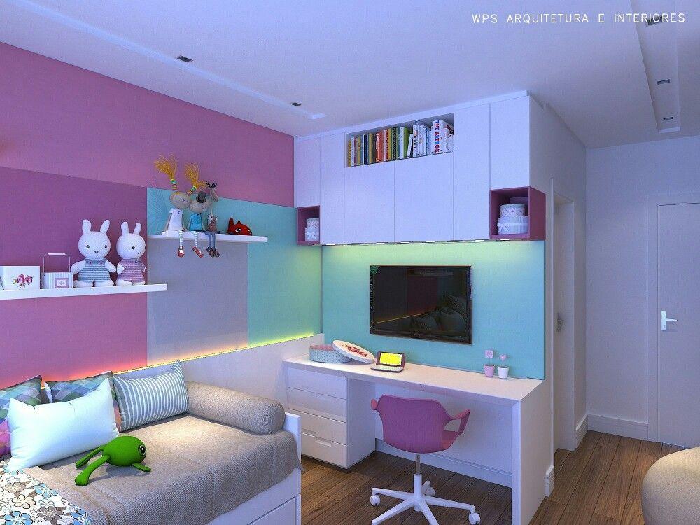 Dormitório menina anos obra e marcenaria arquitectura