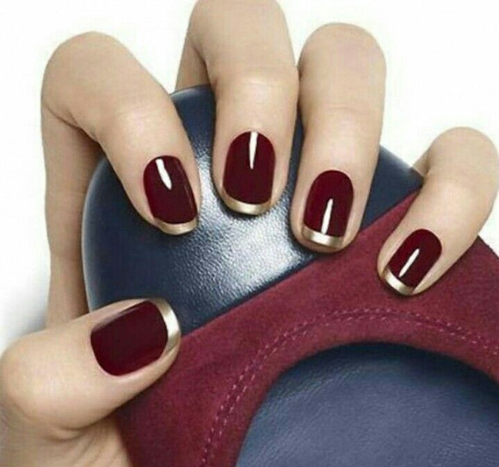 Granate Y Dorado Uña Decoradas En 2019 Nails Nail Designs Y