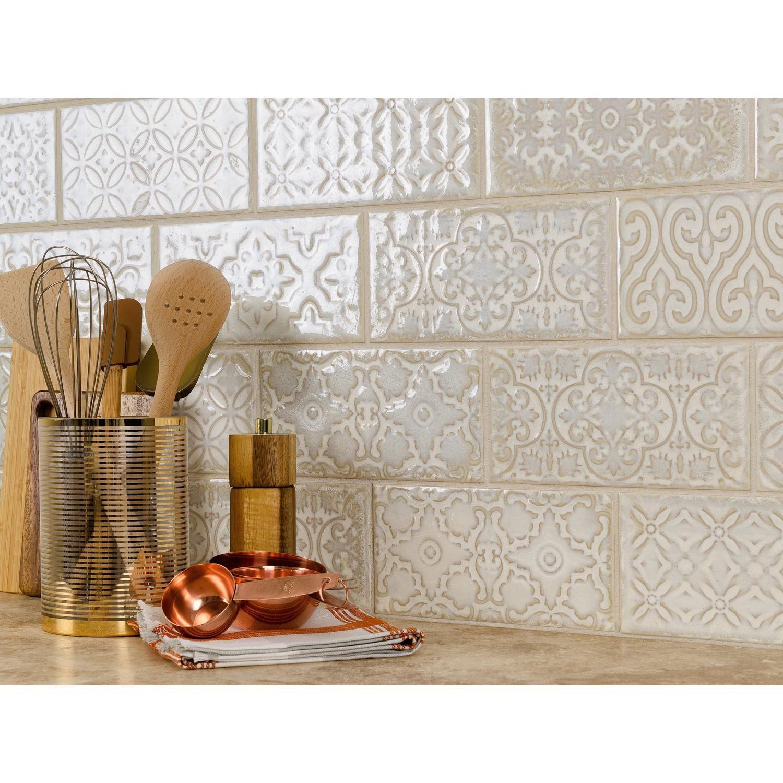 Patina White Polished Porcelain Tile Porcelain Tile Kitchen Backsplash Designs White Tile Backsplash