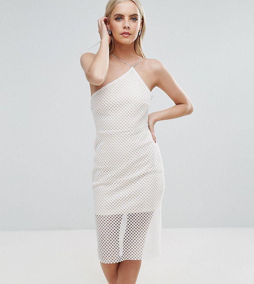 ASOS PETITE - Asymmetrisches, figurbetontes Kleid aus Netzstoff mit ...