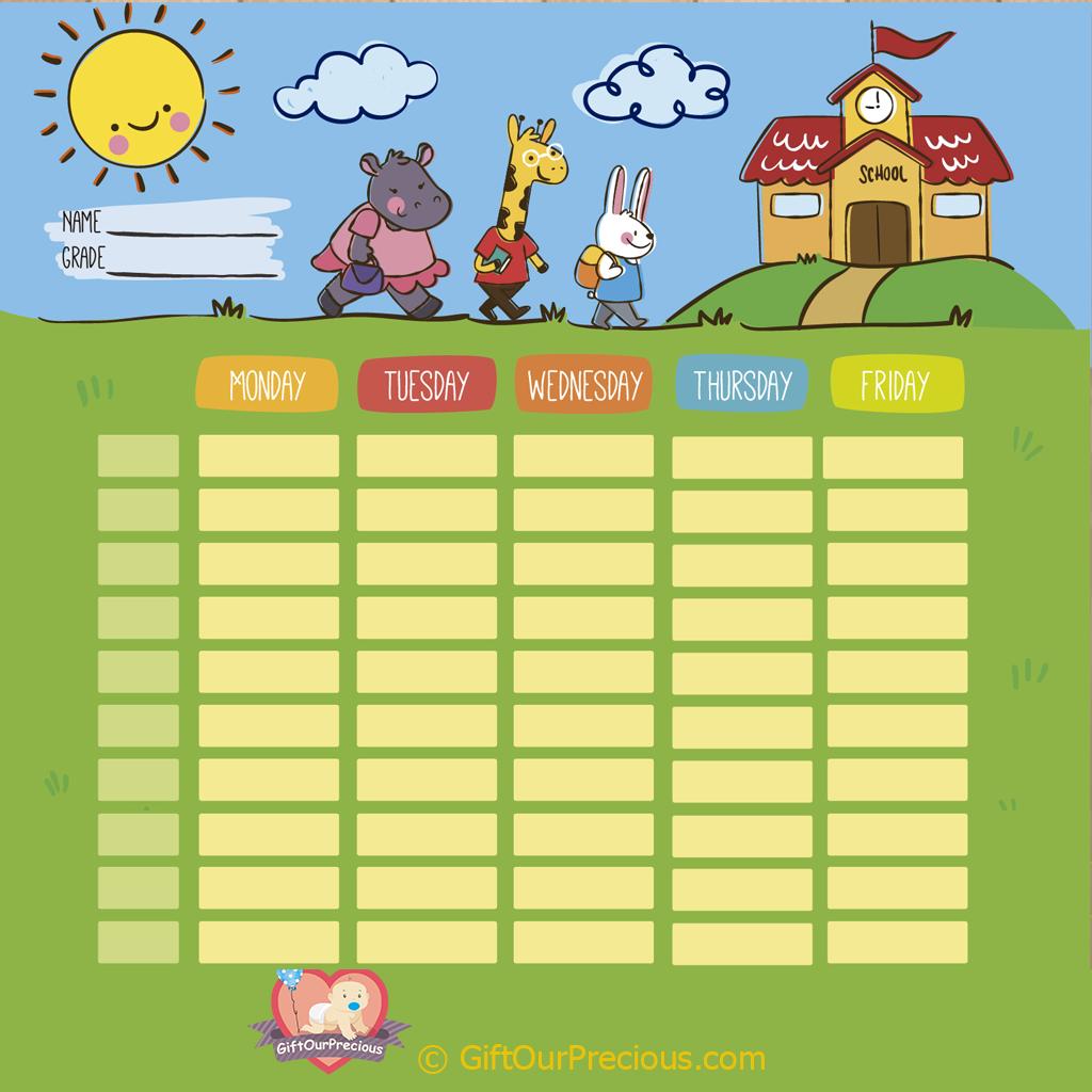 Printable School Time Table