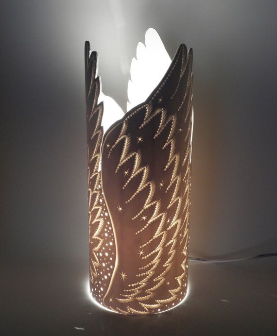 Angel Wings bedside table lamp Accent lamp Angel by GlowingArt