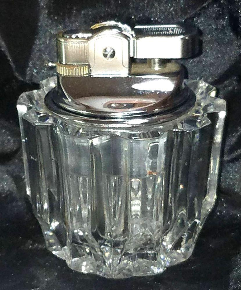 Vintage Prince Glass Crystal Butane Decorative Table Lighter Nice Made In France Prince Light Table Crystal Glass Perfume Bottles
