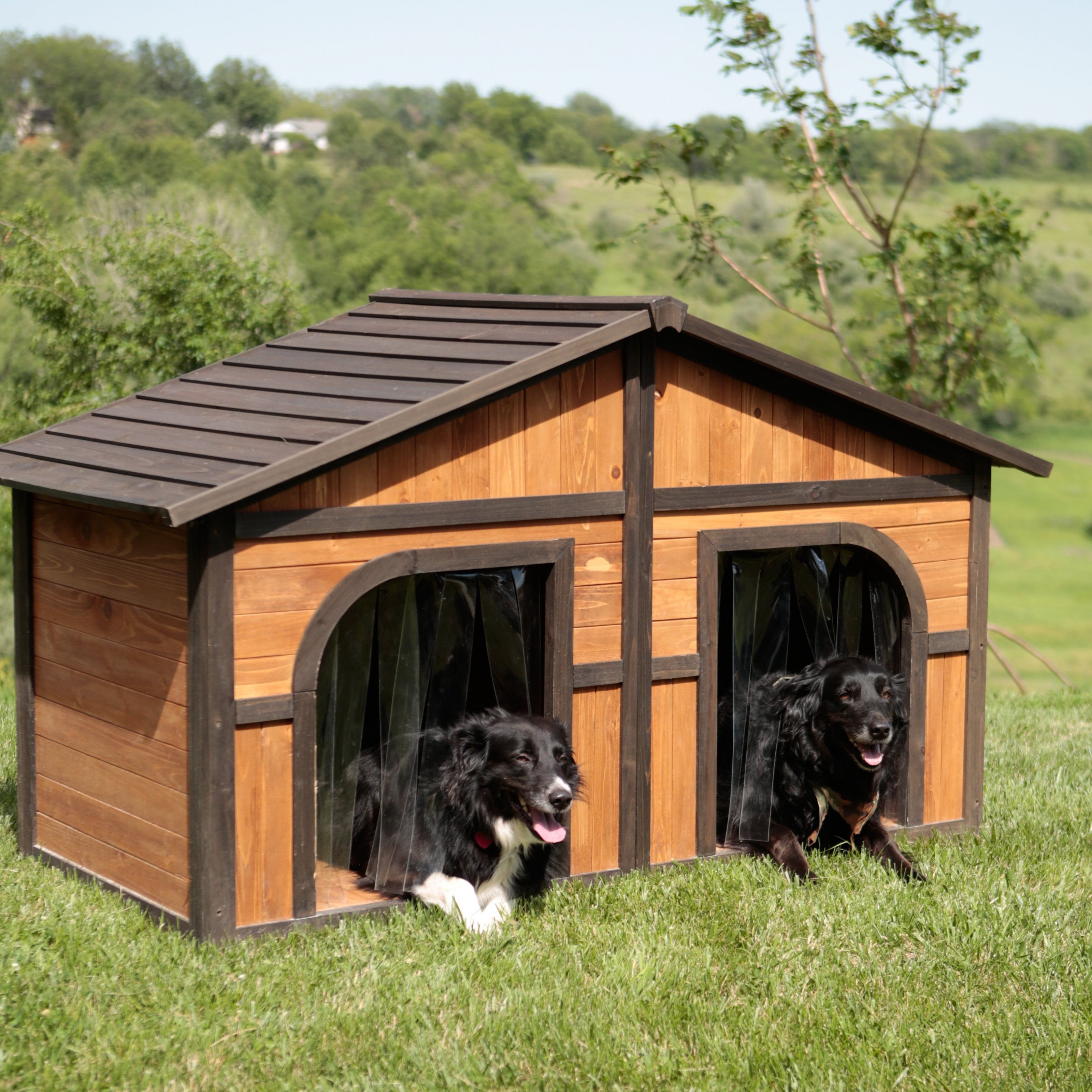 Merry Products Darker Stain Duplex Dog House With Free Dog Doors