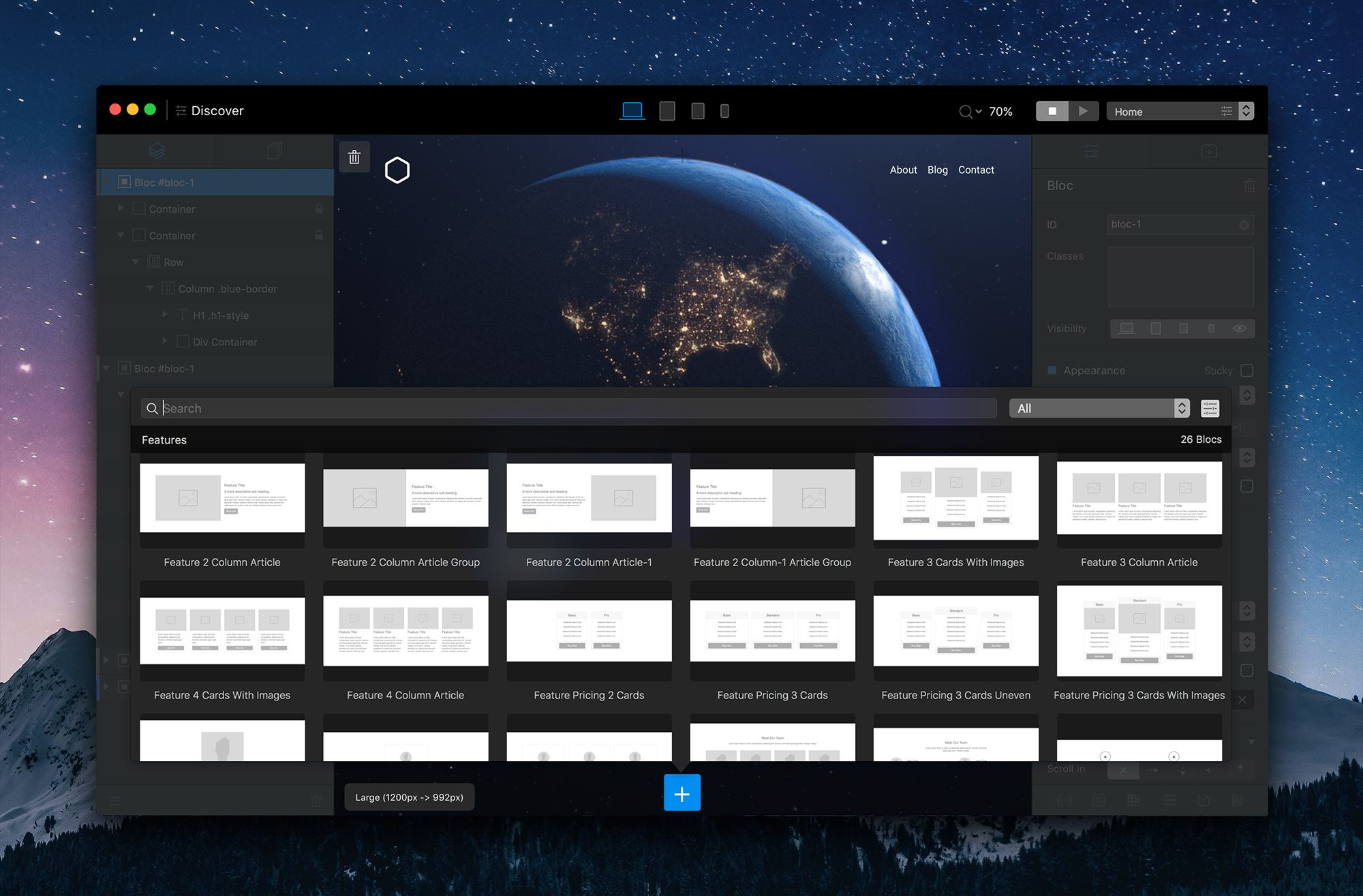 The Bloc Bar Is A Popover Menu That Lets You Quickly And Intuitively Add Additional Pre Made Sections Blocks Web Design Software Web Design Web Design Tools