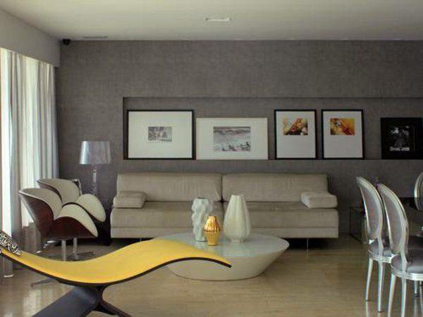 Wandfarbe Grau Einrichtung Wohnzimmer Farbgestaltung Ideen