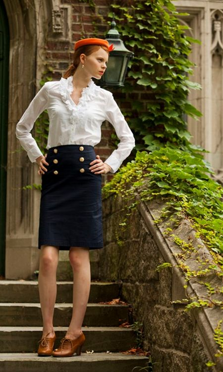 Pencil skirts = wardrobe staple. Plus buttons that make my nautical tendencies go all a flutter #details #NewCloset // Co-Ed Navy Sailor Skirt from Shabby Apple