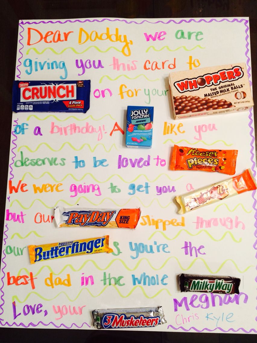 Candy Gram For Dad S Birthday From The Kids Diy Birthday Gifts