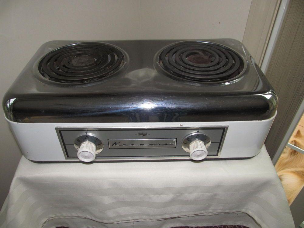 Vintage Mid Century Kenmore 2 Burner Portable Electric Stove Sears