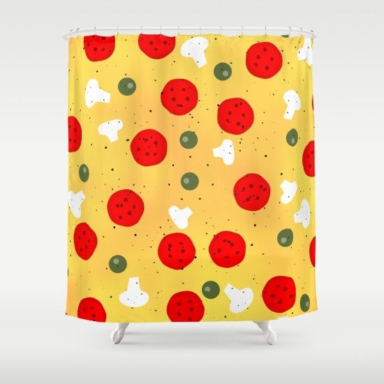 Cool And Fun Vector Pizza Shower Curtain By PLdesign Food