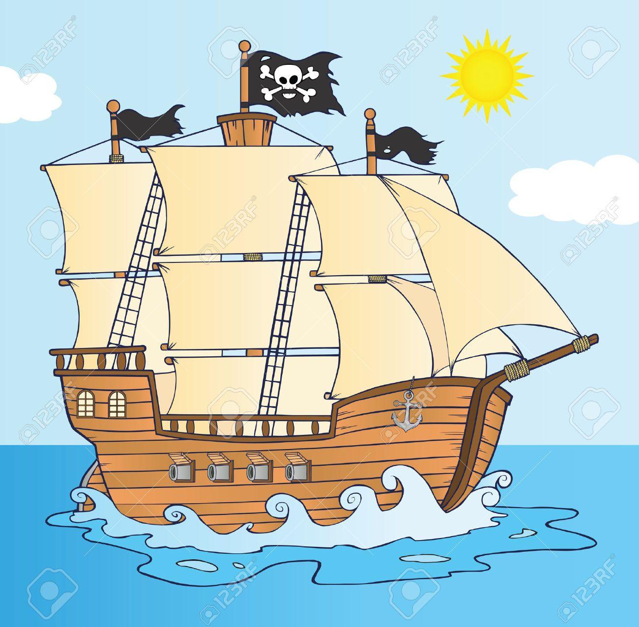 15+ Cute Pirate Ship Clipart