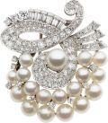Cultured Pearl, Diamond, Platinum Clip-Brooch, circa 1950. ... | Lot #58230 | Heritage Auctions