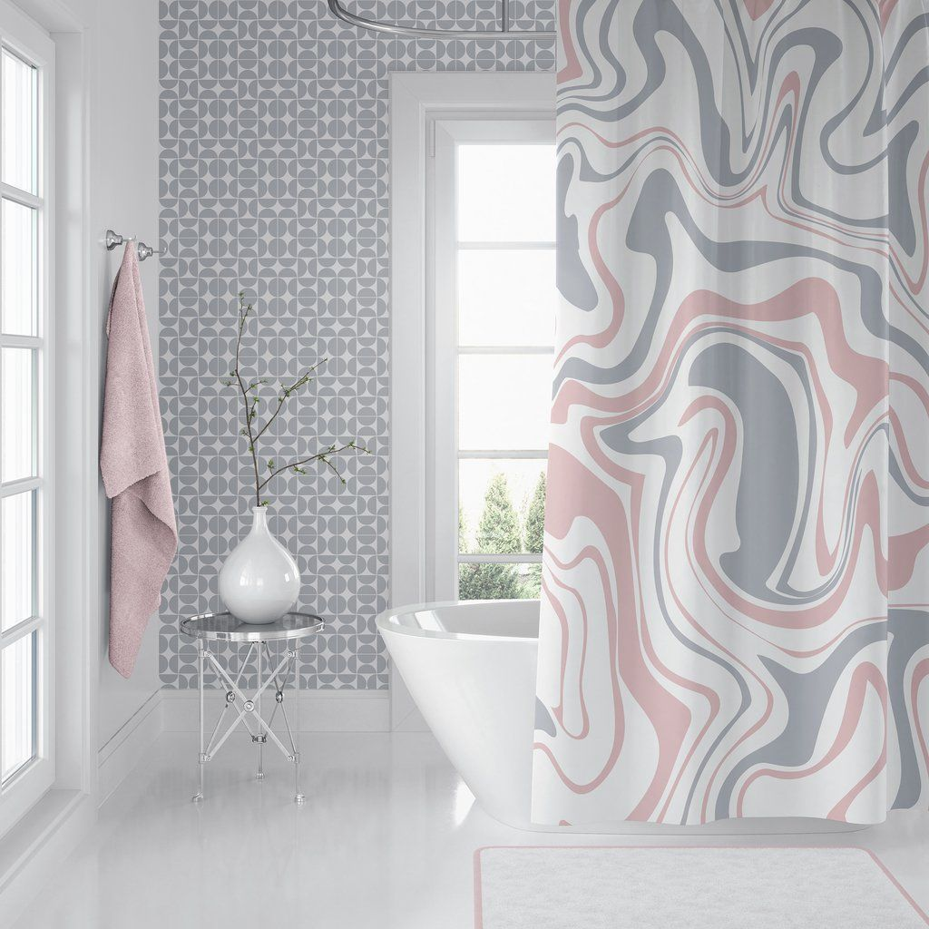 Pink Gray White Holmby Shower Curtain Modern Shower Curtains