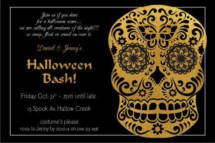 Halloween Party Invitations - Sugar Skull Bash Halloween - halloween invitation template