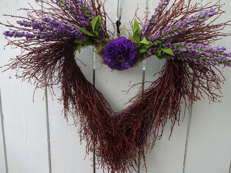 Photo of Valentine Wreath  Valentine Decorations  Valentine Gift  Valentine Heart Shaped Wreath  Twig Wreath  Summer Wreath Wedding Wreath