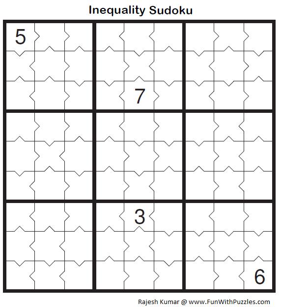 Inequality Sudoku Fun With Sudoku 40 Sudoku Sudoku Puzzles Inequality