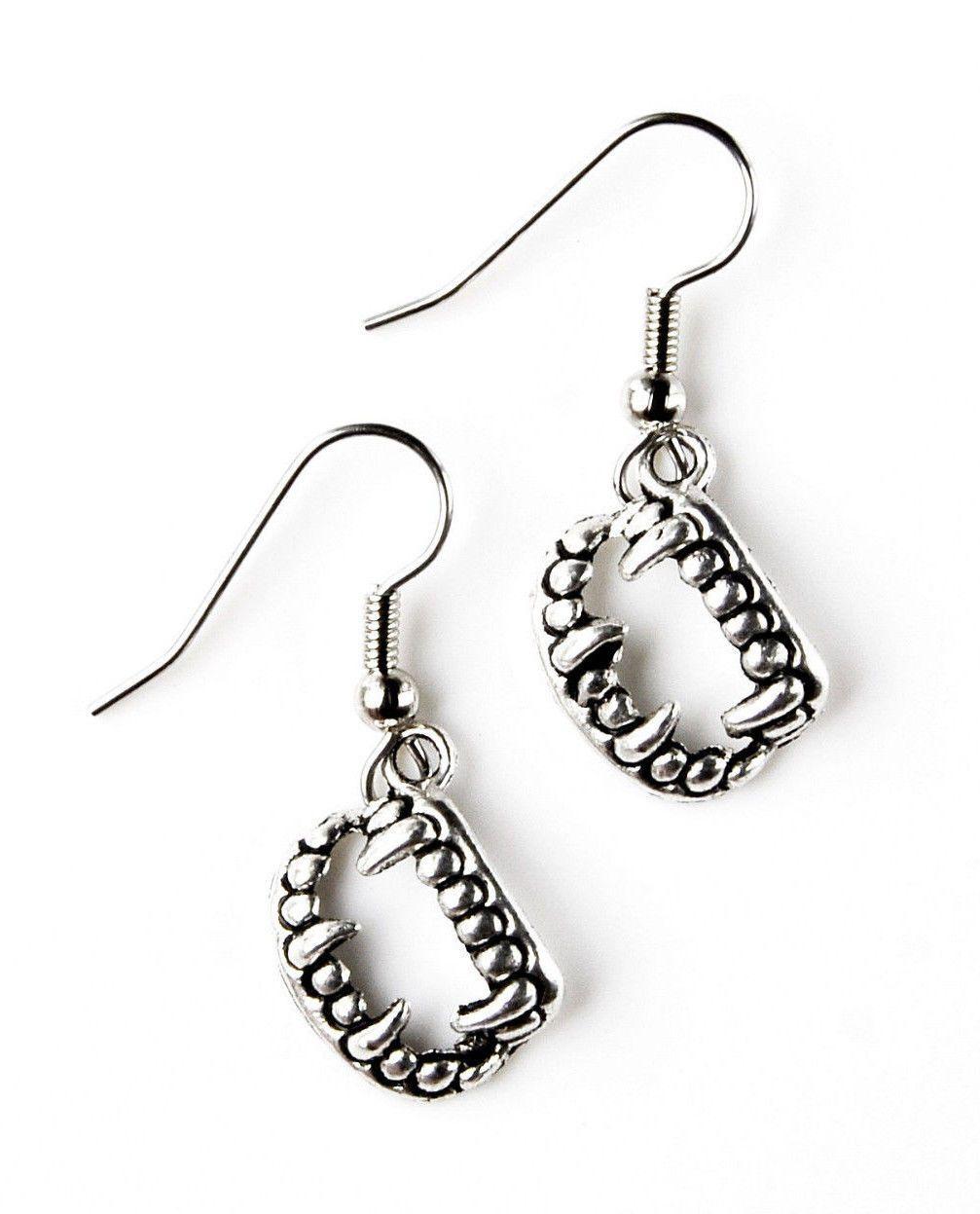 Vampire teeth earrings accessories womenus jewelry handmade