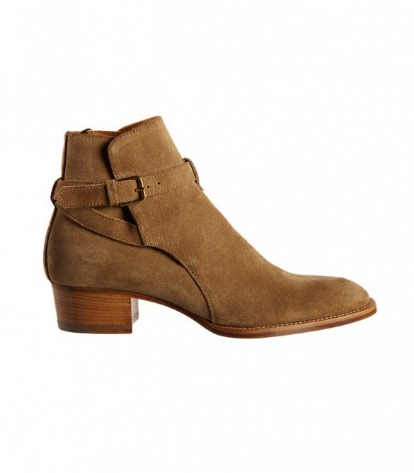 Saint Laurent Wyatt Ankle Boots in Light Brown