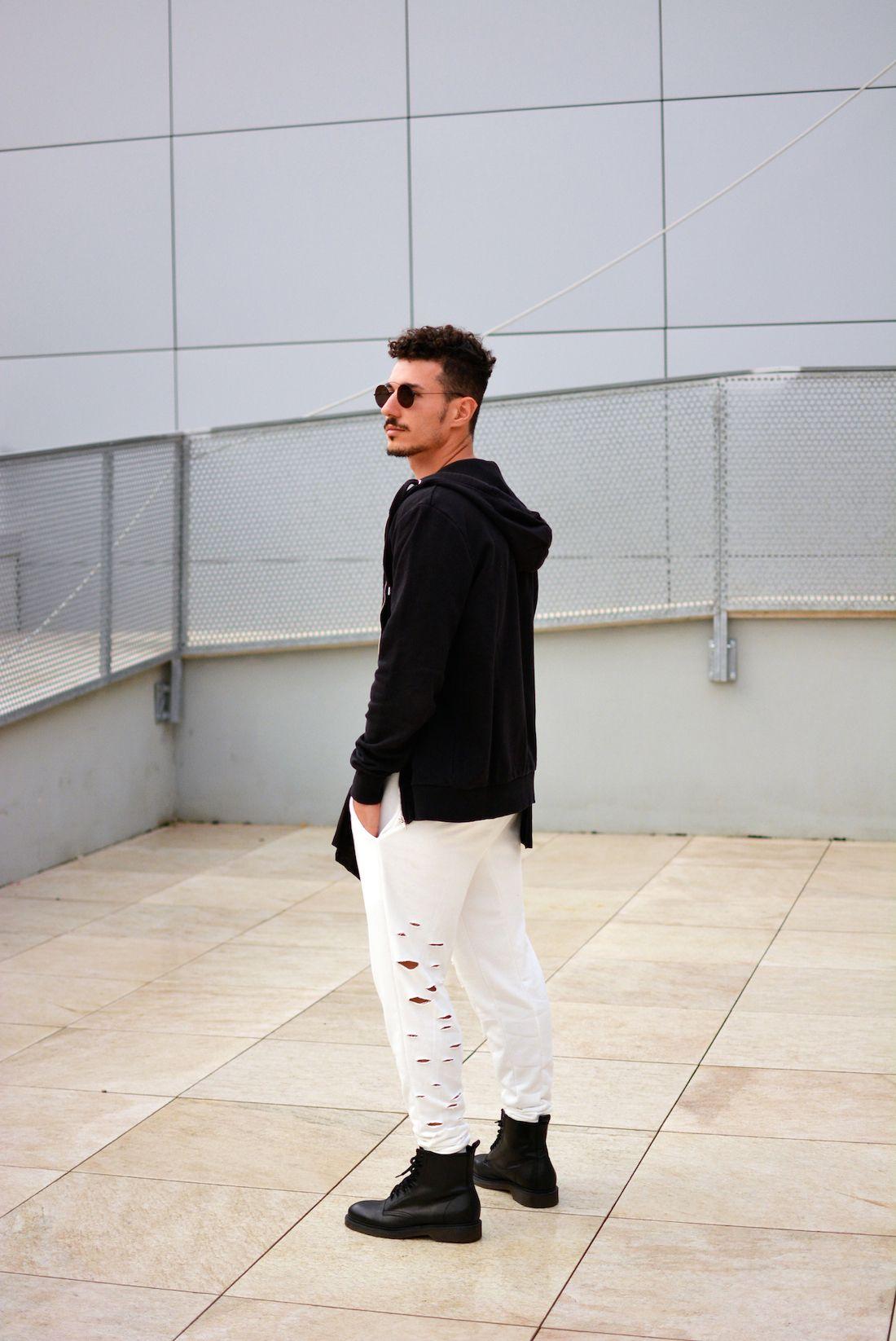 Men's Black Hoodie, Black Crew-neck T-shirt, White Sweatpants ...