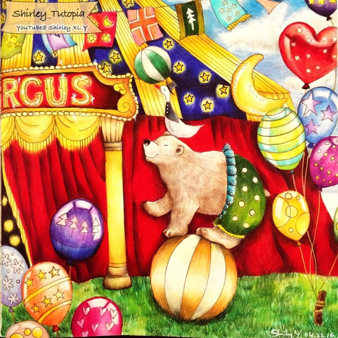 Youtube coloring book - Circus From Romantic Country Adult Coloring Book By Toothpick Artist Eriy Colored By