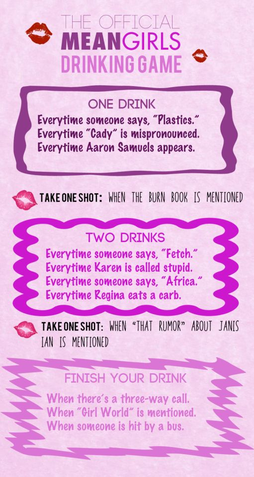 The totally official mean girls drinking game misc til they the totally official mean girls drinking game ccuart Image collections