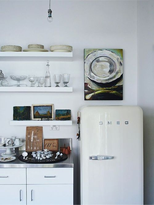 White Smeg fridge (via Interior inspirations)
