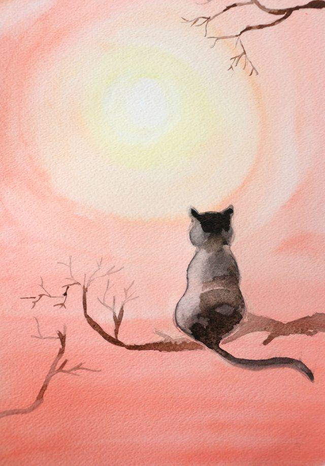 Diy Black Cat Watercolor Painting Watercolor Cat Watercolor Art
