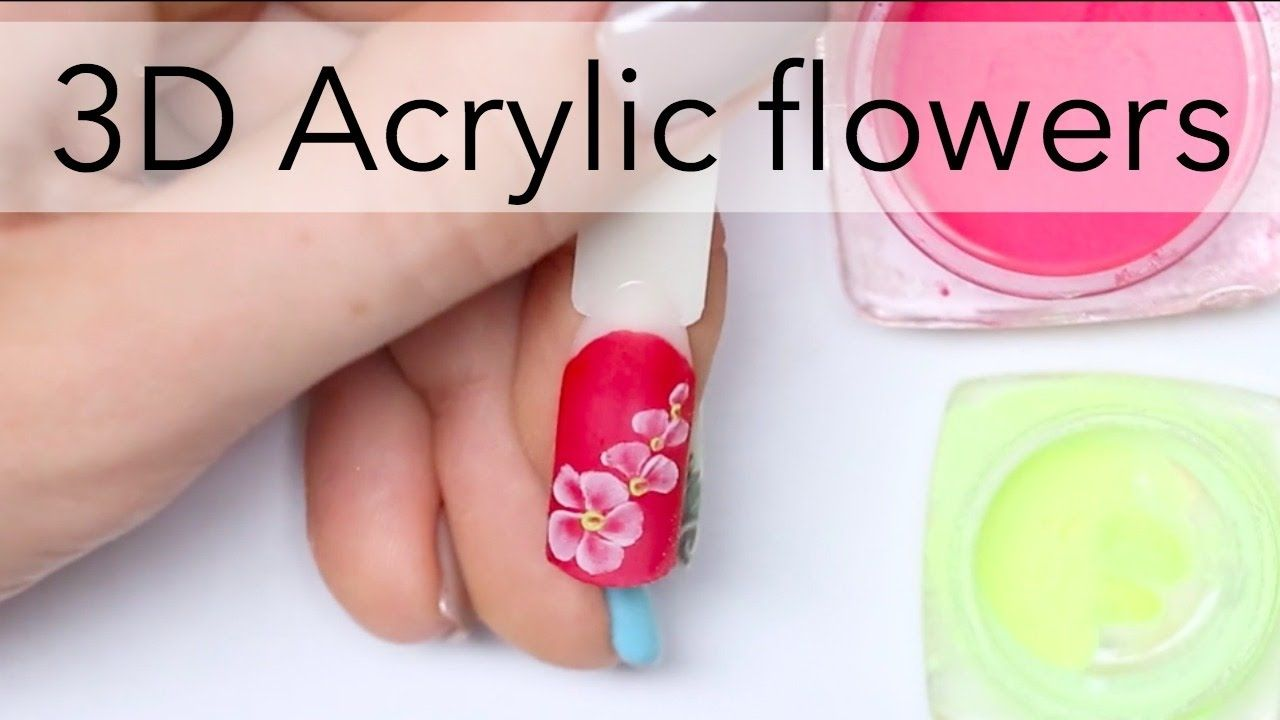 3d acrylic flowers design for beginners simple nails