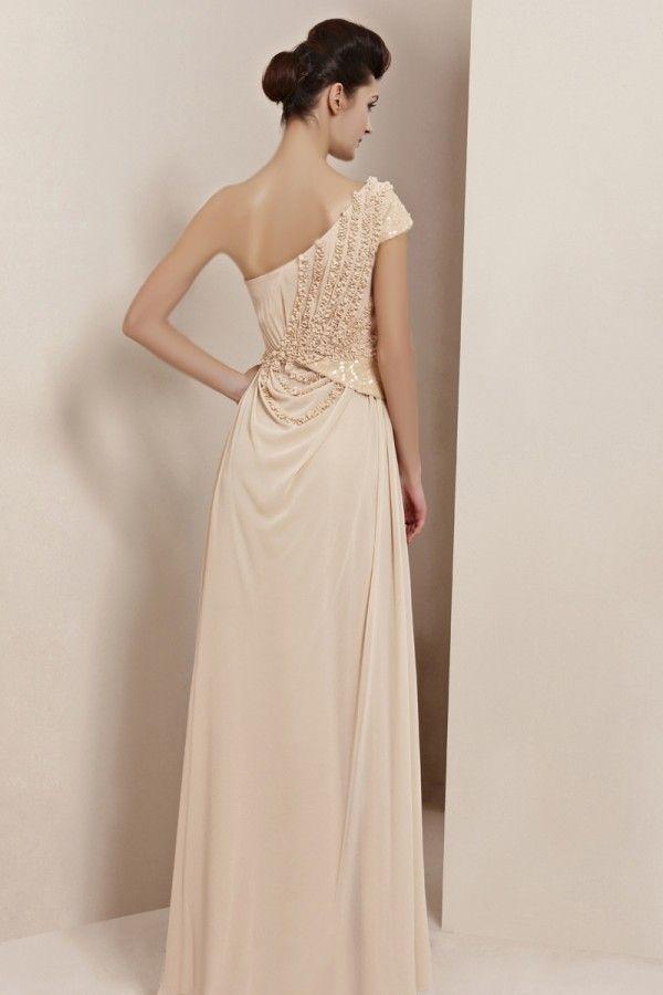 ivory one-shoulder chiffon designer formal evening dress ...