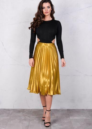 46536da0e Pleated Satin Metallic Midi Skirt Mustard Gold in 2019 | dresses ...