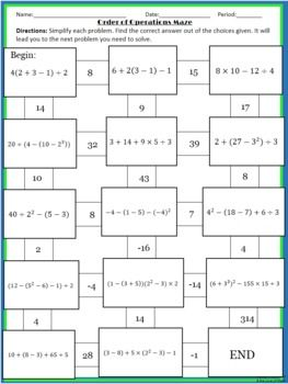Worksheets Multi Operational Mathematical Maze maze math worksheets and parachutes on pinterest order of operations maze