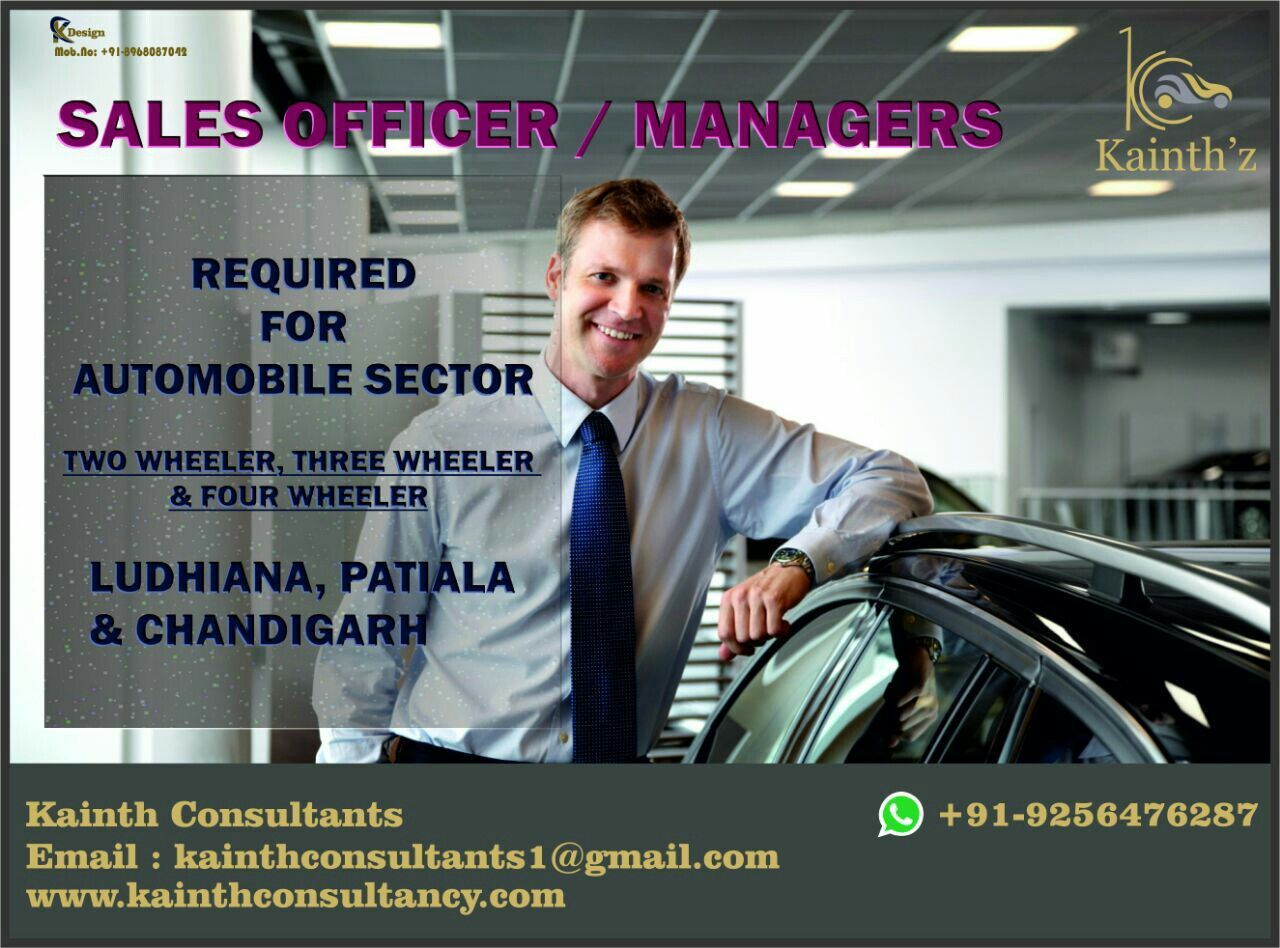 """""""A goal is a dream with a deadline."""" Sales people who are trying to push themselves into better performances and higher positions in favour of them looking for Two,Three or Four wheeler #SalesManagers in #Automobile Sector. Apply at us at on email:- kainthconsultants3@gmail.com Whatsapp:- +91-9256476287 Click here:- www.kainthconsultancy.com"""