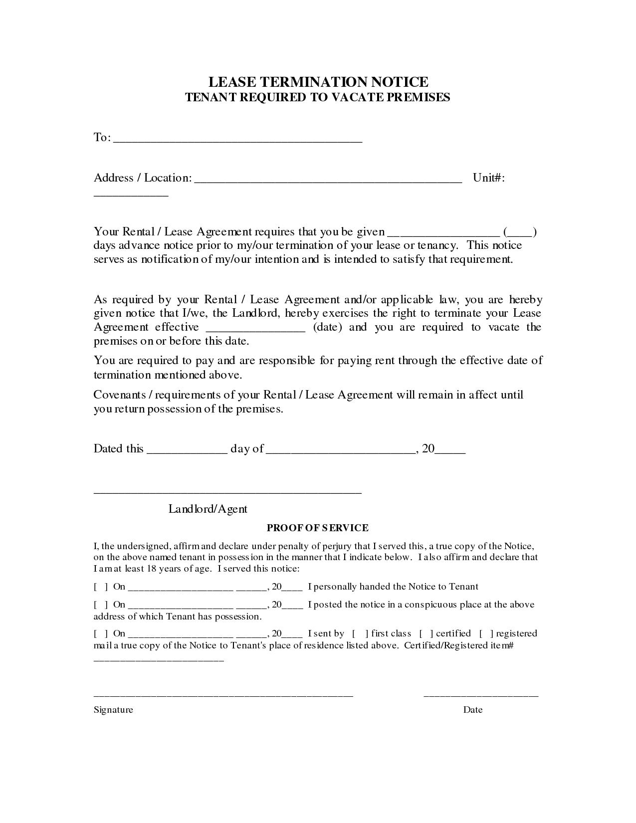 Rental Agreement Termination Letter Sample Lease From Landlord
