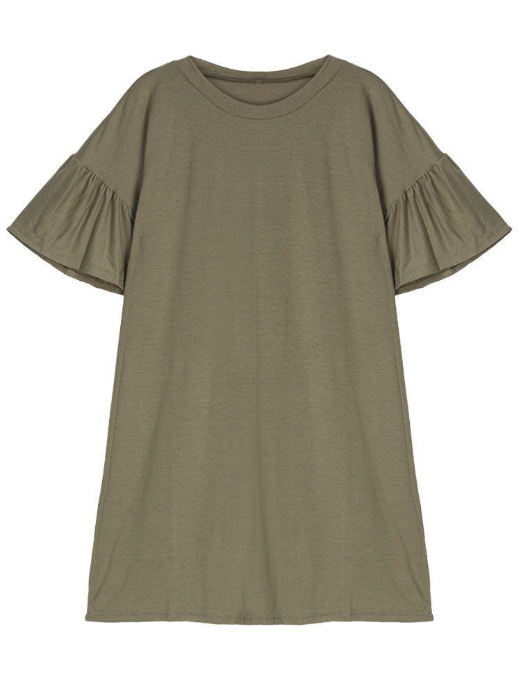 Women O-Neck Short Flare Sleeve Solid Knitting Mini Dress