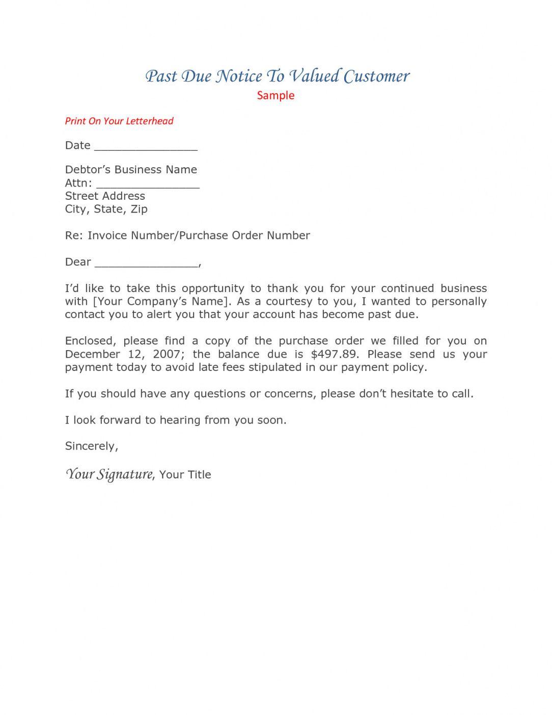 Past Due Rent Demand Letter Template Company Letterhead Letter