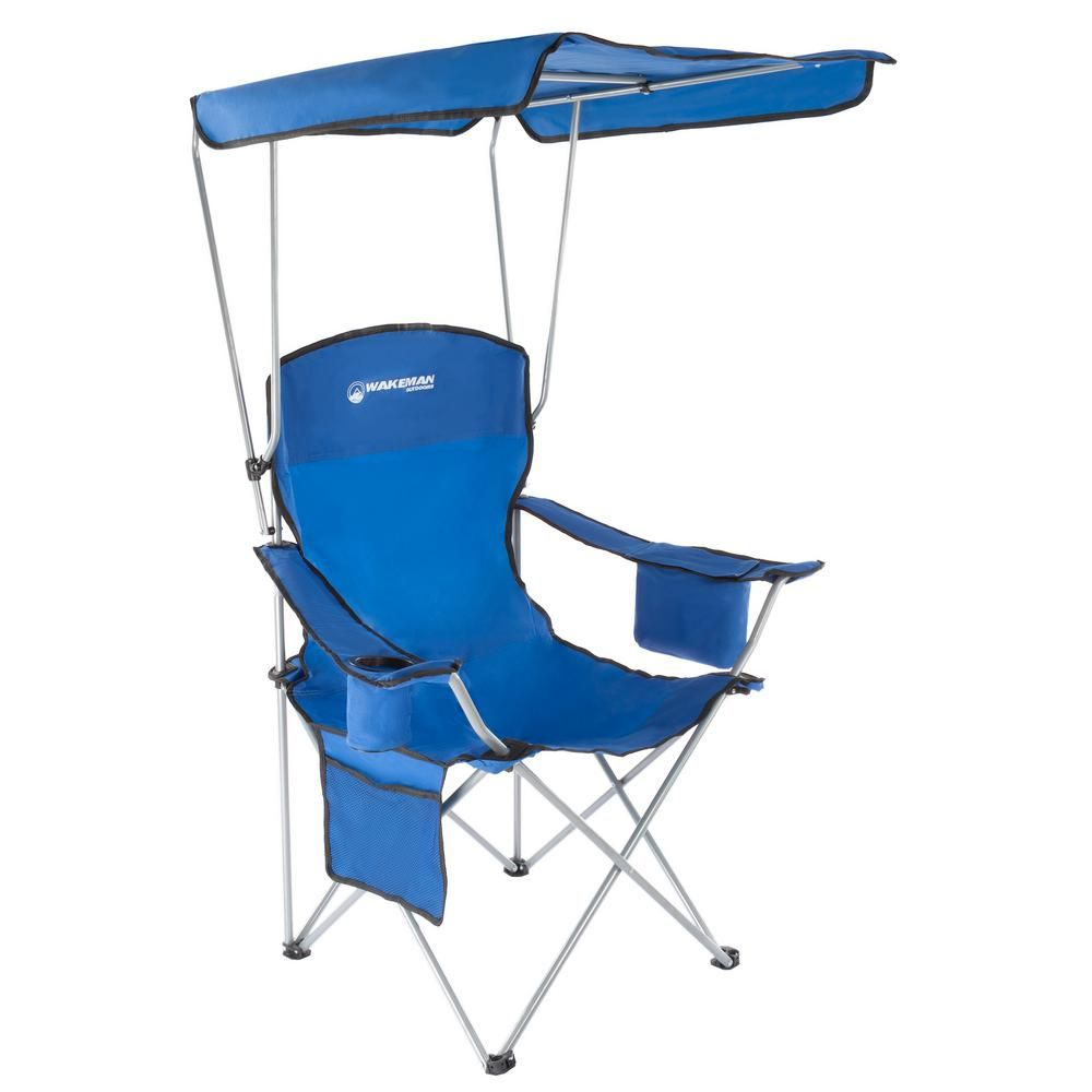 Superb Wakeman Outdoors Blue Heavy Duty Camp Chair With Sun Canopy Theyellowbook Wood Chair Design Ideas Theyellowbookinfo
