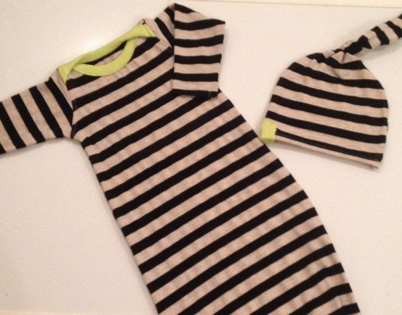 Bamboo knit newborn gown and hat in black and by LemonJuicebrand, $32.50