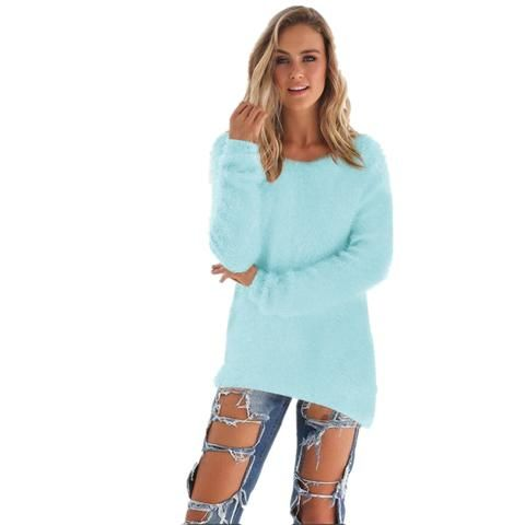 Women 2017 Autumn Sweater Pink Blue Solid Long Sleeve O Neck Loose  Pullovers Thin Sweaters Ladies Elegant Tops Sweaters f63563aaa