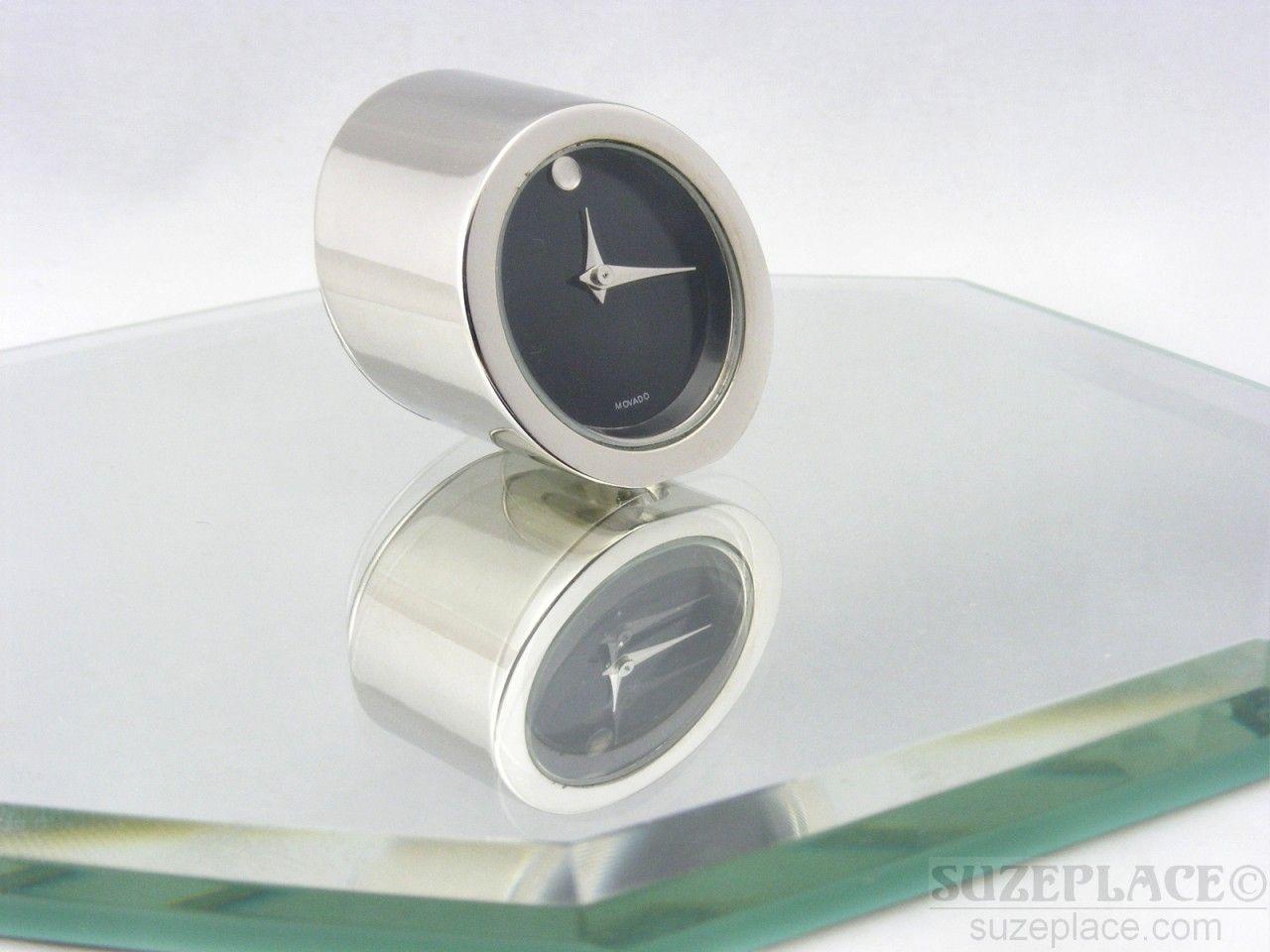 movado small desk clock black dial silver tone sleek for the home rh pinterest com