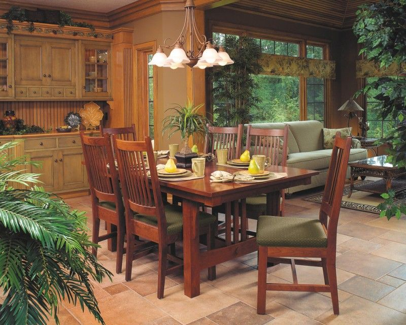 Mission Style Dining Room Idea Cherry Made Dining Furniture Light Toned  Wood Cabinets Pavers Flooring Idea