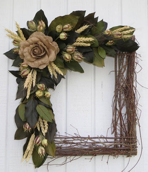 Square Wreath Square Twig Wreath Dried Flower Wreath Dried