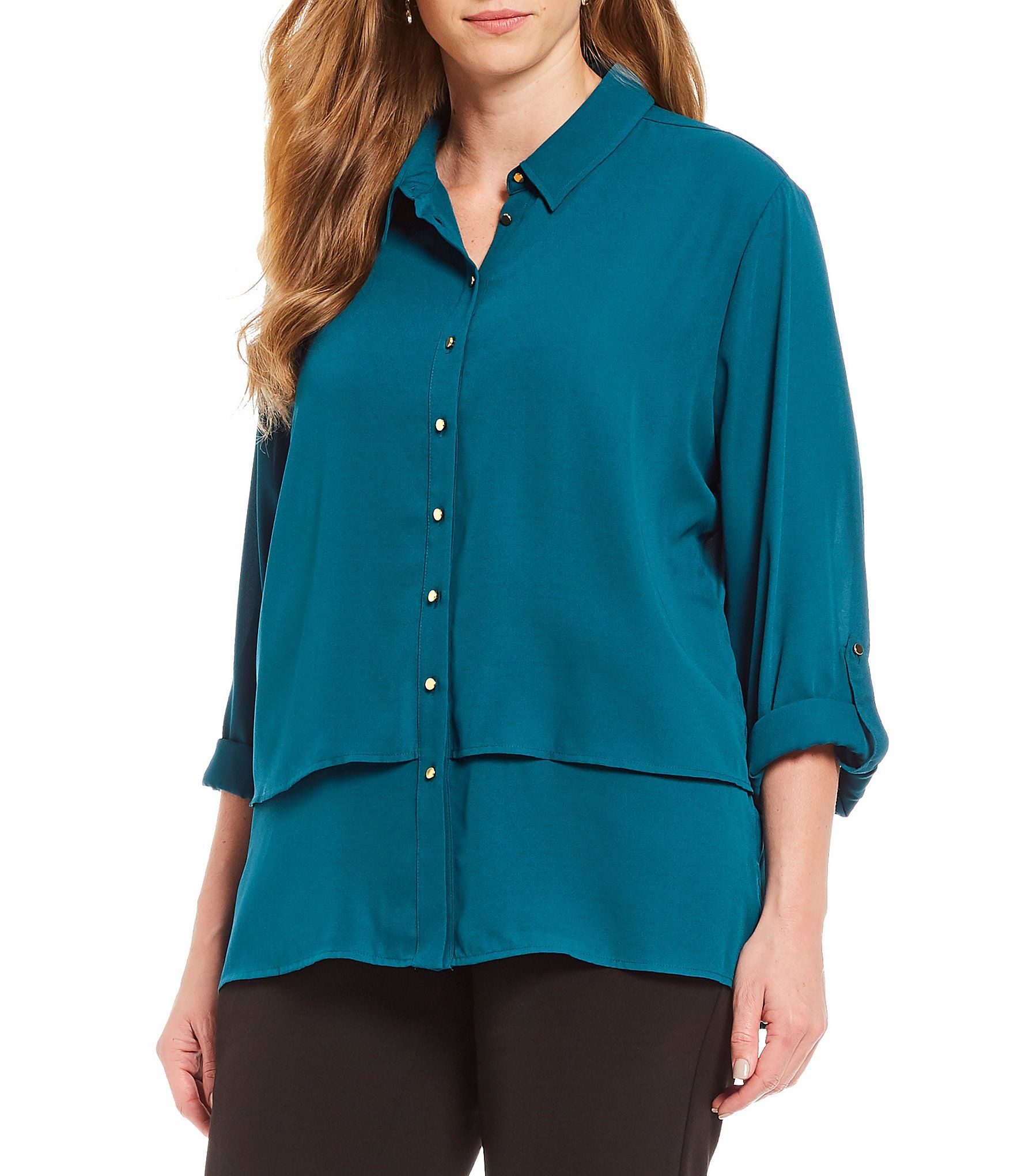 f88d05024387e7 Investments Plus Size Long Roll-Tab Sleeve Layered Utility Blouse  Dillards